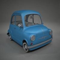 toon car fiat 600 3d model