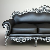 baroque sofa interior 3d model
