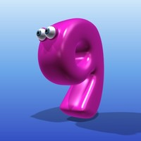 cute cartoon number 3d model