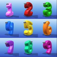 3d cute cartoon number model