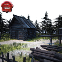 old wood house 3ds