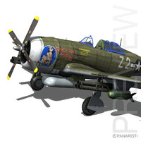 3d republic p-47 thunderbolt fighter aircraft model