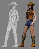 young girl(cowgirl lowpoly)