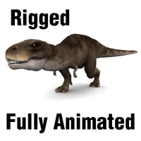 3d trex rigged animation model