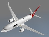 b 737-800 qantas 3d model