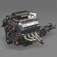 3d dual v8 engine w model