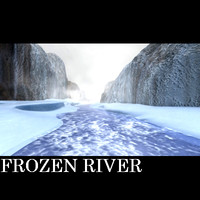 3d frozen river canyon mountain model