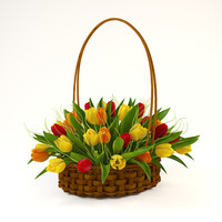 tulip basket 3d model