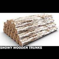 snowy wooden trunks wood 3d max