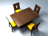 3d contemporary dining table chair