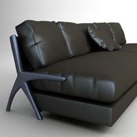 3d model modern black sofa