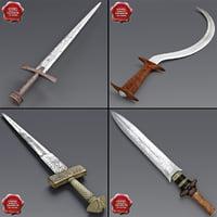 3d african swords model