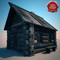 3d old wood house v2 model