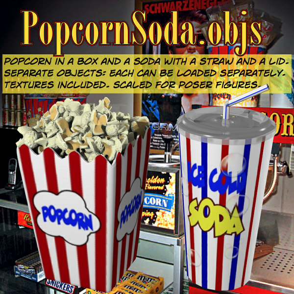 3d popcornsoda popcorn soda - PopcornSoda.obj... by uncle808us