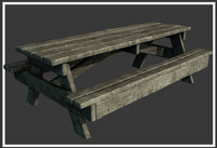 2 Classic wooden picnic tables