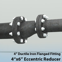 4in eccentric reducer piping 3d model
