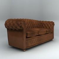 old leather sofa 3d obj