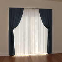 windows curtain 3d model