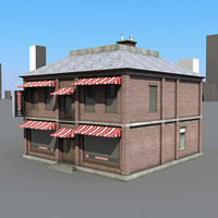 3d market building 1 store model