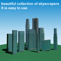 3d model of realistic skyscrapers