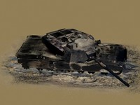 3d burned m1 abrams tank