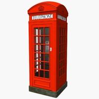 3d london phone kiosk model