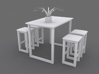 dining room set table chair 3d max