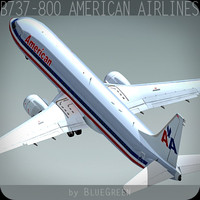 3ds max boeing 737-800 plane american airlines