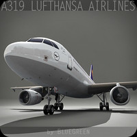a319 lufthansa 3d model