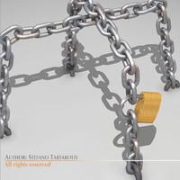 3d chains padlock