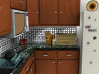 3d kitchen counter
