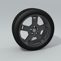 3d model black chrome rims