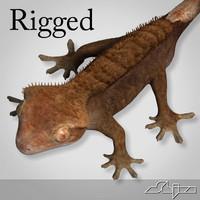 3d max gecko rhacodactylus lizard rigged biped