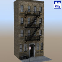 3d inner city apartment building