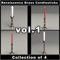 renaissance brass candlesticks vol 1 3d obj