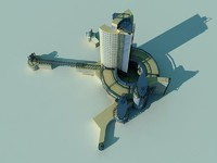 modern tower 3d obj