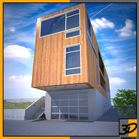 3d model narrow house modern