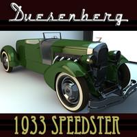 VINTAGE CAR DUESENBERG 1933 SPEEDSTER