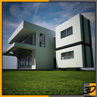 3d model of geometric house scene