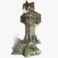 fantasy watch tower building 3d fbx
