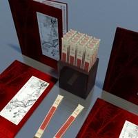 3d chop sticks asian menu model