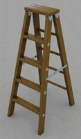Folding wood step ladder