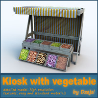 wooden kiosk vegetable 3d max