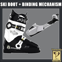 ski boot binding mechanism 3d max