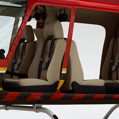 bell 206l helicopter interior c4d - Helicopter - Fire Bell 206L with Interior... by cgshape