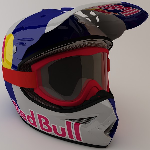 3d redbull helmet goggles model - RedBull Helmet and Goggles... by ThePeriphery