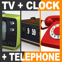 Retro Style Television Set Flip Clock and Telephone
