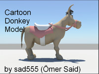 3d funny cartoon donkey model
