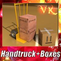 3dsmax hand truck 2 cardboard box