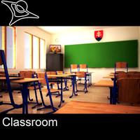 3d model class room classroom